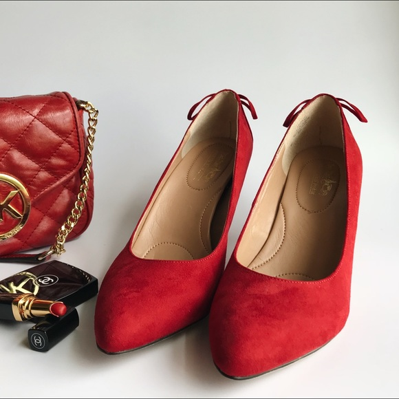 98cbbc1f4b5d Coach Shoes - Coach and Four Red suede pumps